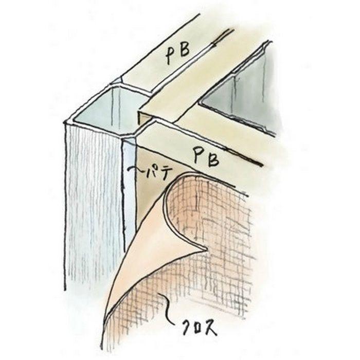 ペンキ・クロス下地材 出隅 ビニール 直角コーナー 9.5 ホワイト 2.73m  01207