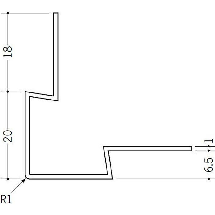 ペンキ・クロス下地材 出隅 ビニール 角型イカ出隅6.5 ホワイト 2.73m  37125