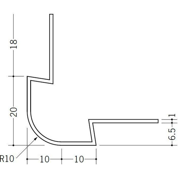 ペンキ・クロス下地材 出隅 ビニール タコ10R-6.5mm ホワイト 2.73m  37122