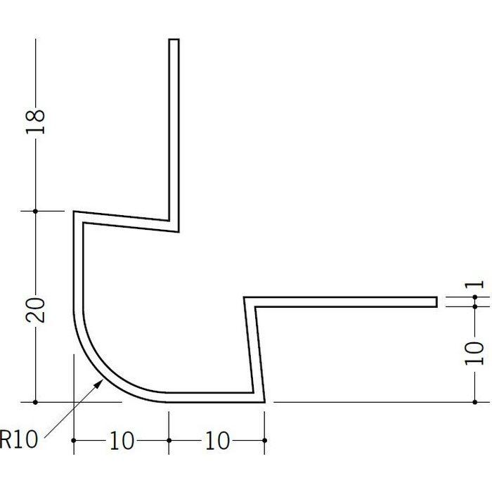 ペンキ・クロス下地材 出隅 ビニール タコ10R-10mm ホワイト 2.73m  37123