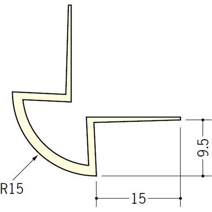 ペンキ・クロス下地材 出隅 ビニール 丸面15R-9.5mm用 ミルキー 2.5m  01081