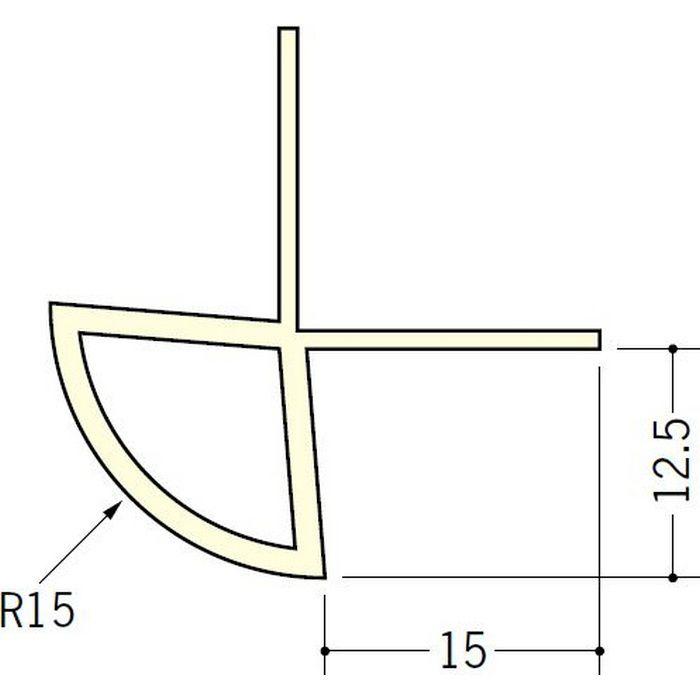 ペンキ・クロス下地材 出隅 ビニール 丸面15R-12.5mm用 ミルキー 2.5m  01082