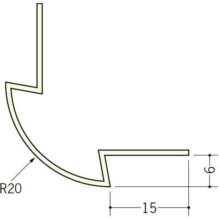 ペンキ・クロス下地材 出隅 ビニール 丸面20R-6mm用 ミルキー 2.5m  01181