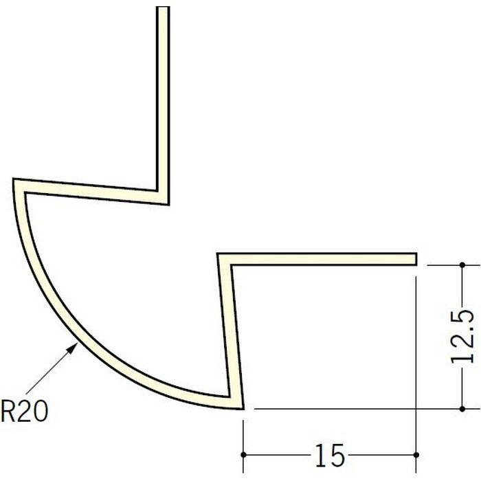 ペンキ・クロス下地材 出隅 ビニール 丸面20R-12.5mm用 ミルキー 2.5m  01184