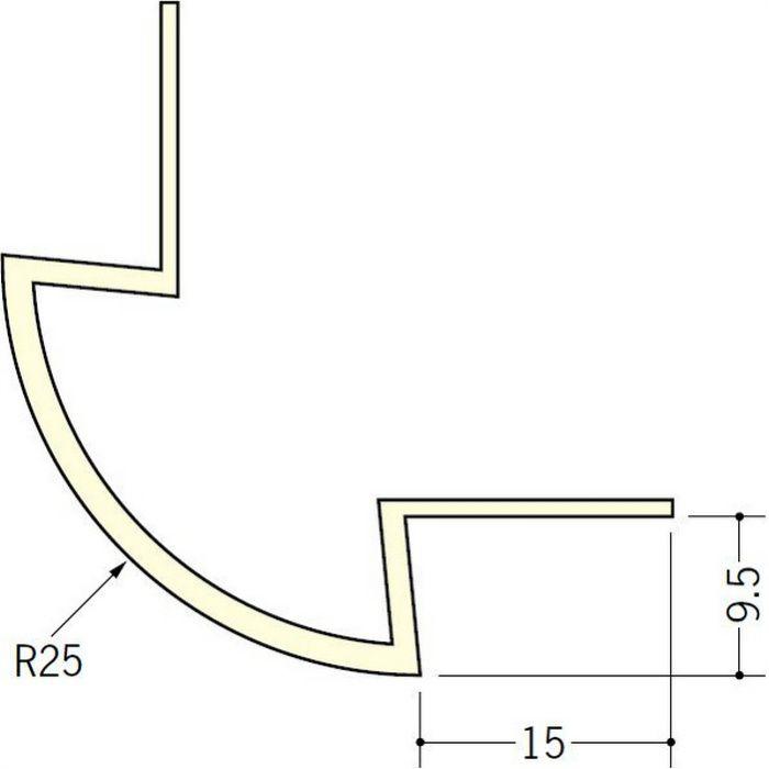 ペンキ・クロス下地材 出隅 ビニール 丸面25R-9.5mm用 ミルキー 2.5m  01083