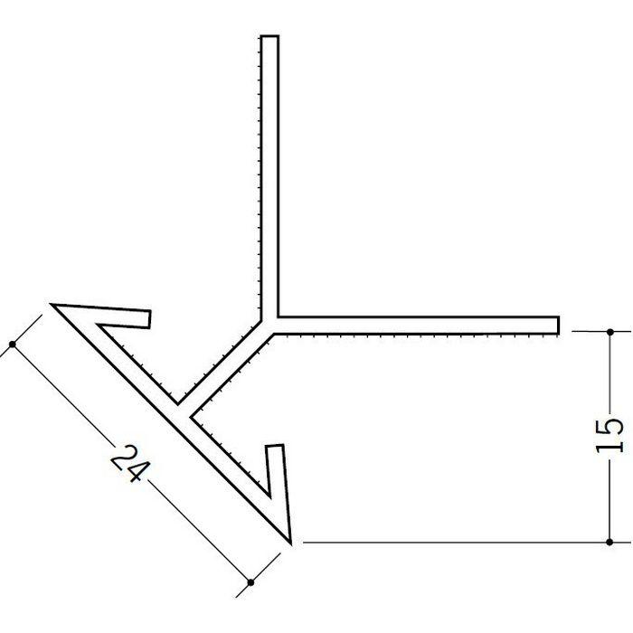 ペンキ・クロス下地材 出隅 ビニール 24面取コーナー 15mm用 ホワイト 2.5m  01034