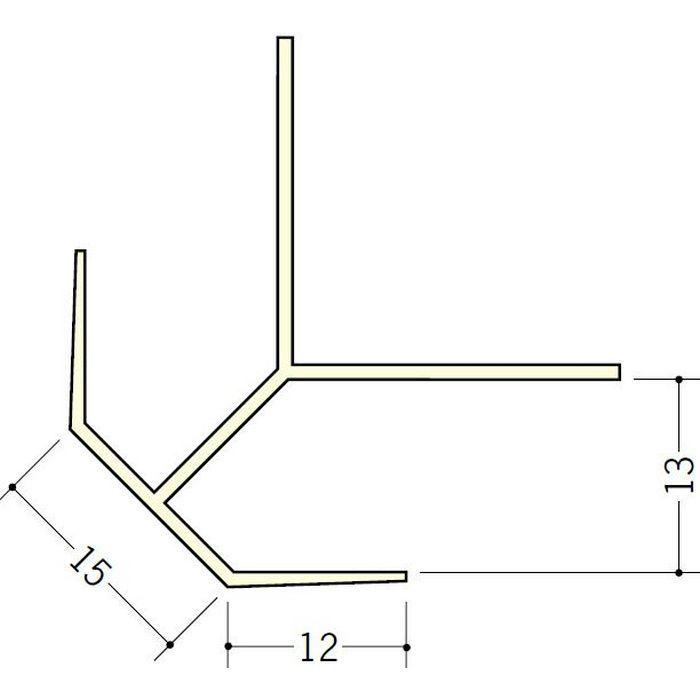 ペンキ・クロス下地材 出隅 ビニール 15面取コーナー 12mm用 ミルキー 2.5m  01059