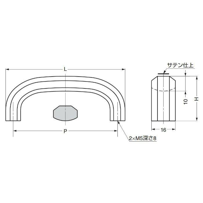 ランプ印ステンレス鋼製ハンドルXL-CUR型 XL-CUR80TT 100-012-825