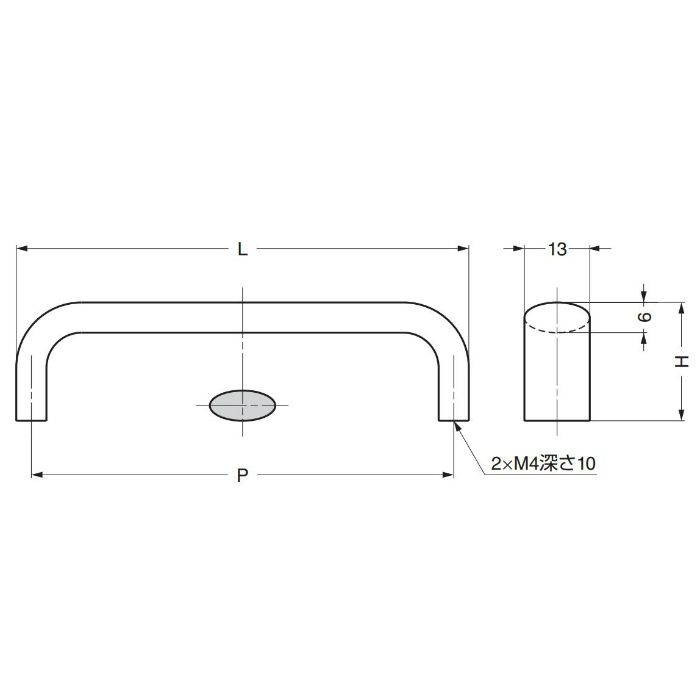 ランプ印ステンレス鋼製ハンドルDL型 DL-110M 100-011-105