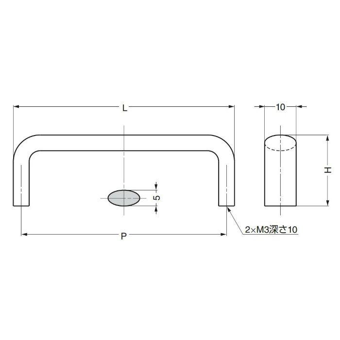 ランプ印ステンレス鋼製ハンドルDS型 DS-50M 100-011-113