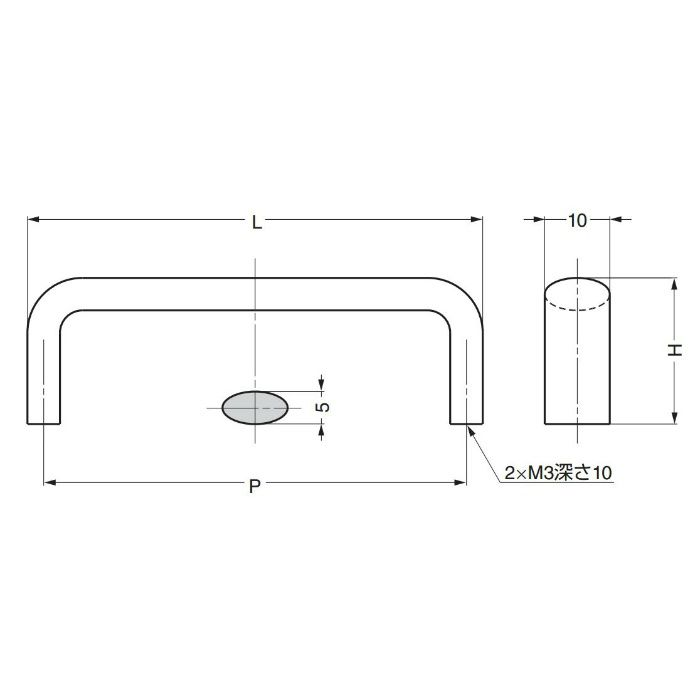 ランプ印ステンレス鋼製ハンドルDS型 DS-70M 100-011-115