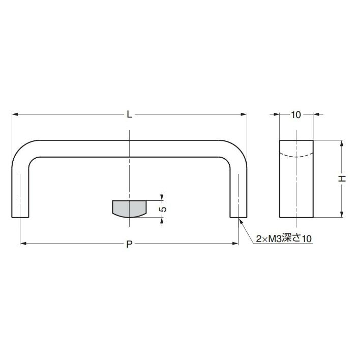 ランプ印ステンレス鋼製ハンドルKB型 KB-50M 100-011-095