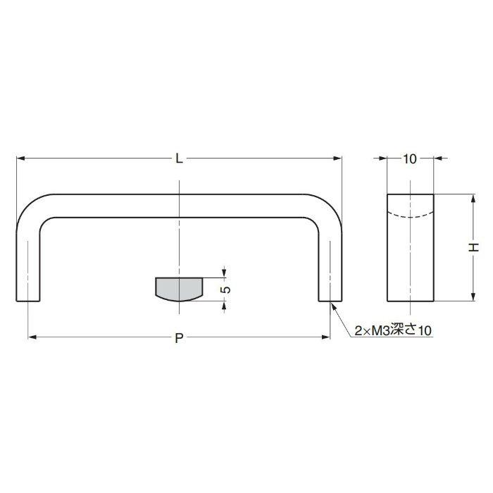 ランプ印ステンレス鋼製ハンドルKB型 KB-70M 100-011-097