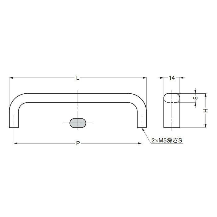 ランプ印ステンレス鋼製ハンドルEC型 EC-220M 100-010-050