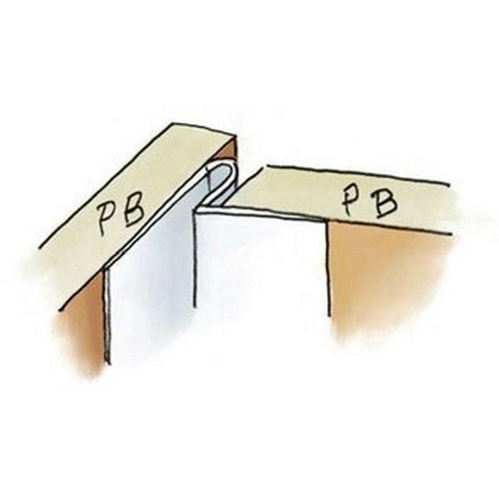ペンキ・クロス下地材 入隅・天井廻り 吸震 ビニール IP-2 穴あき+テープ付 ホワイト 2.5m  37181-1