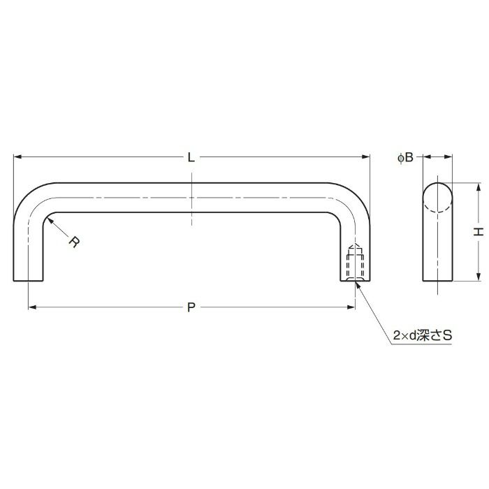 ステンレス鋼製ハンドルH-42-C型 H-42-C-8 100-010-560