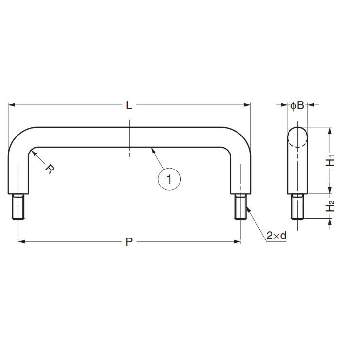 ステンレス鋼製ハンドルH-42-B型 H-42-B-1 100-010-551