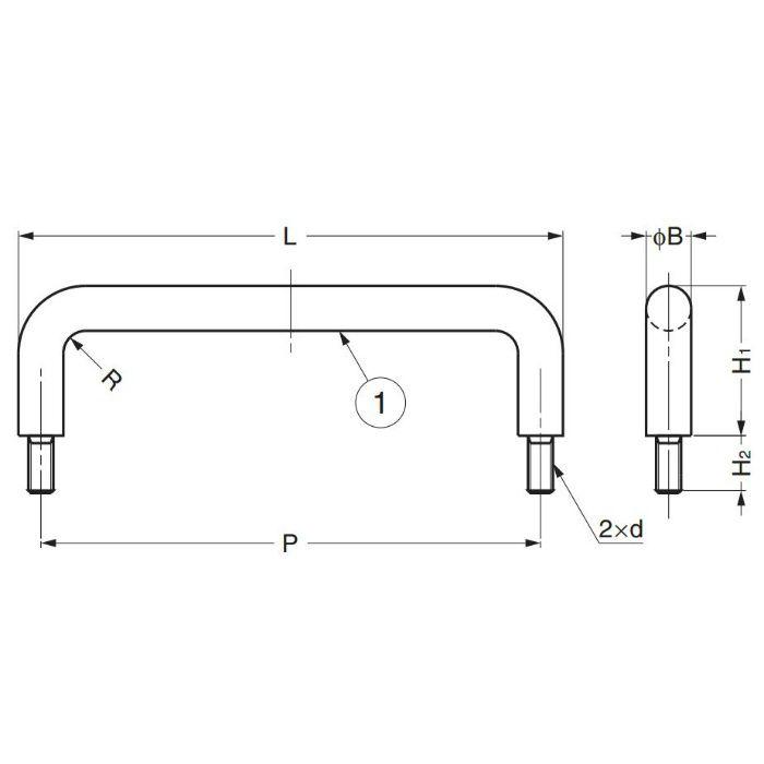 ステンレス鋼製ハンドルH-42-B型 H-42-B-6 100-010-558