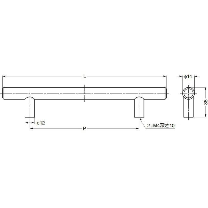 ステンレス鋼製ハンドルI1014型 I1014128 100-012-629
