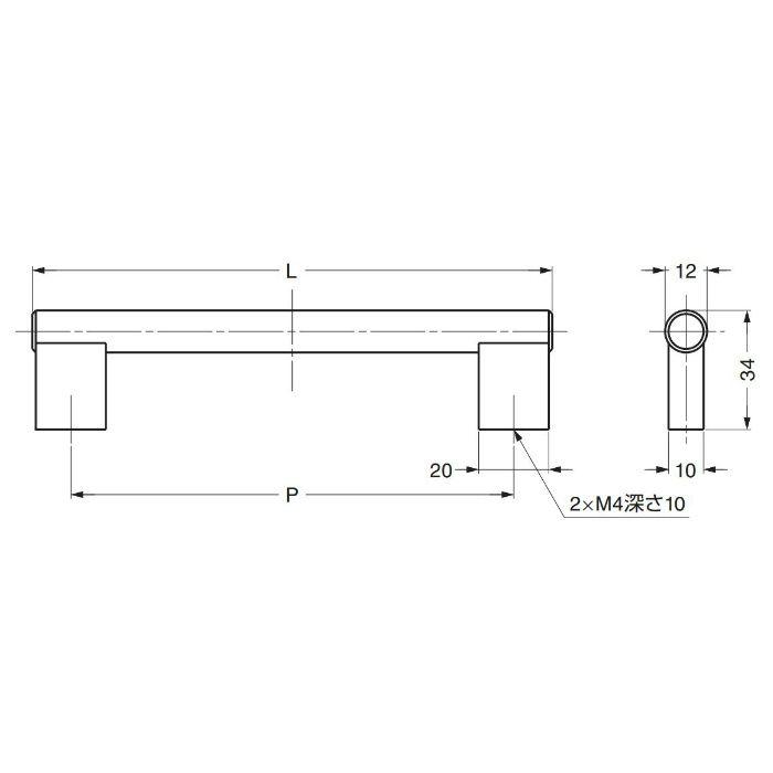 ステンレス鋼製ハンドルI1020型 I1020128 100-012-961