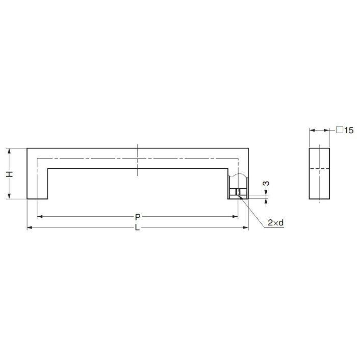 オールステンレス鋼製角パイプハンドルKPH型 KPH-192 100-019-196