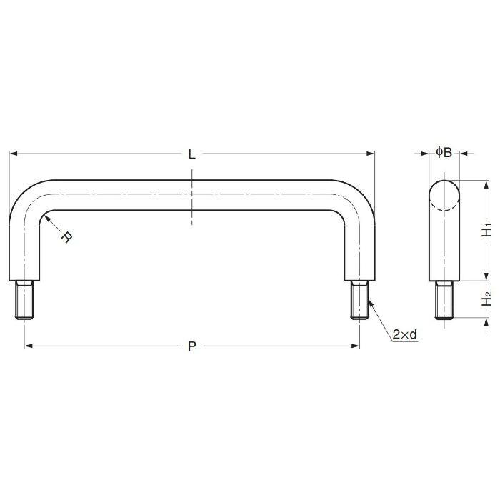 ランプ印チタン合金製ハンドルH-42-BT型 H-42-BT-2 100-010-350