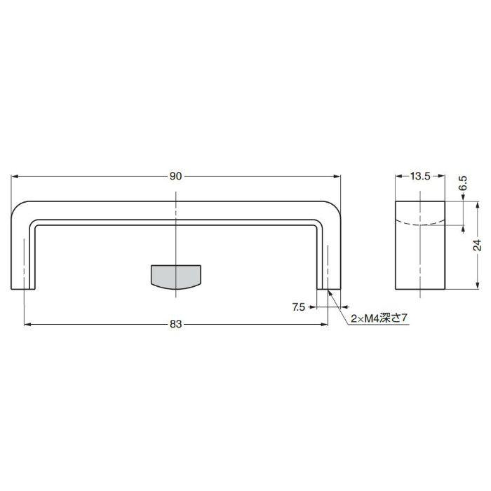 ランプ印平角取手HIRA-A012 HIRA-A012 100-010-924