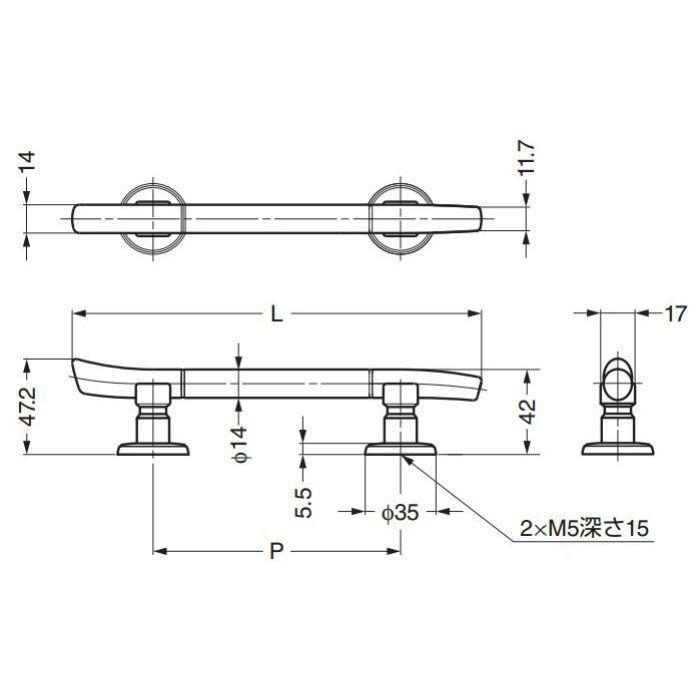 ランプ印たまづさハンドルTMH型(座金は別売) TMH-96 100-010-732