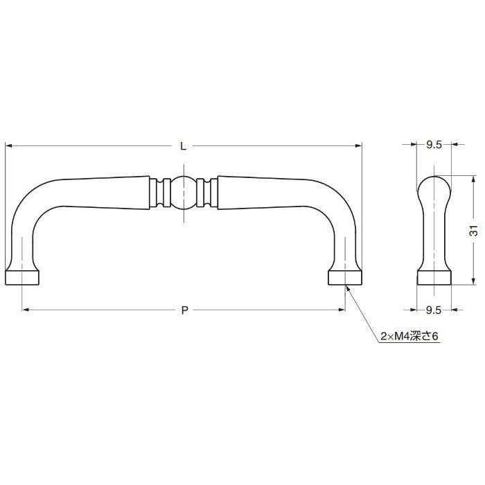 真鍮ハンドルK259型 K259-76PB 100-012-775