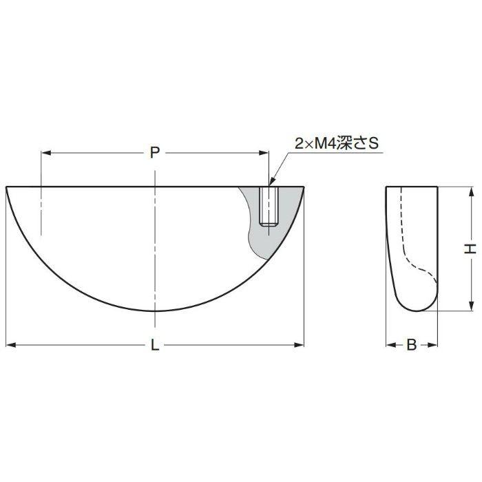 ランプ印ステンレス鋼(SUS316相当品)製取手RD型 RD-55SM 100-901-049