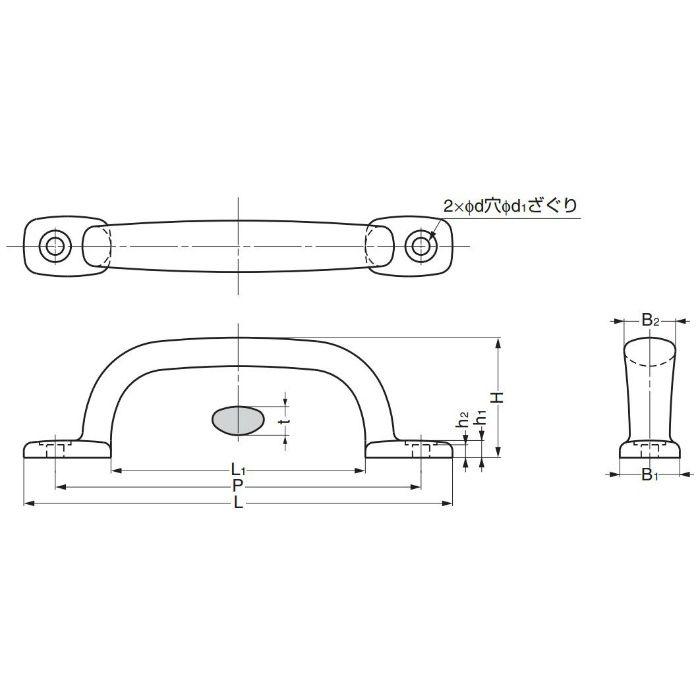 ランプ印ステンレス鋼(SUS316相当品)製ハンドル2LC型 2LC-180 100-010-134