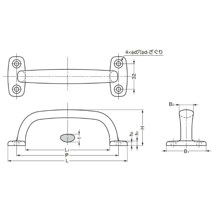 ランプ印ステンレス鋼(SUS316相当品)製ハンドル4LC型 4LC-82 100-010-135