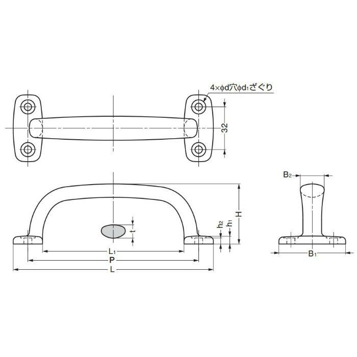 ランプ印ステンレス鋼(SUS316相当品)製ハンドル4LC型 4LC-150 100-010-137