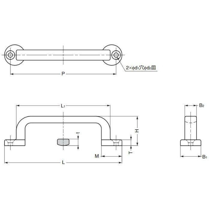 ランプ印ステンレス鋼製フィニッシュハンドルFT型 FT-80 100-012-848