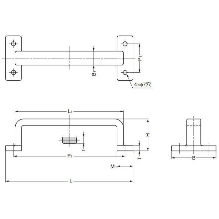 ランプ印ステンレス鋼(SUS316相当品)製フィニッシュハンドルFT型大型タイプ FT-200 100-010-069