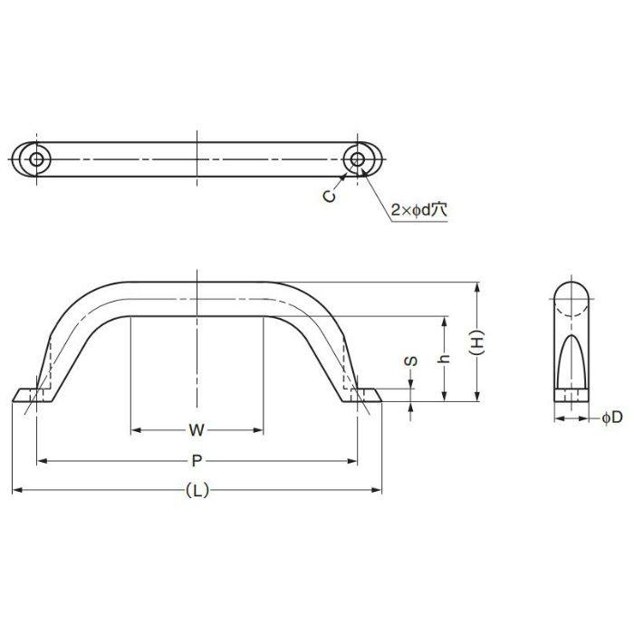 ランプ印ステンレス鋼(SUS316)製ハンドルMG型 MG-250 100-010-485