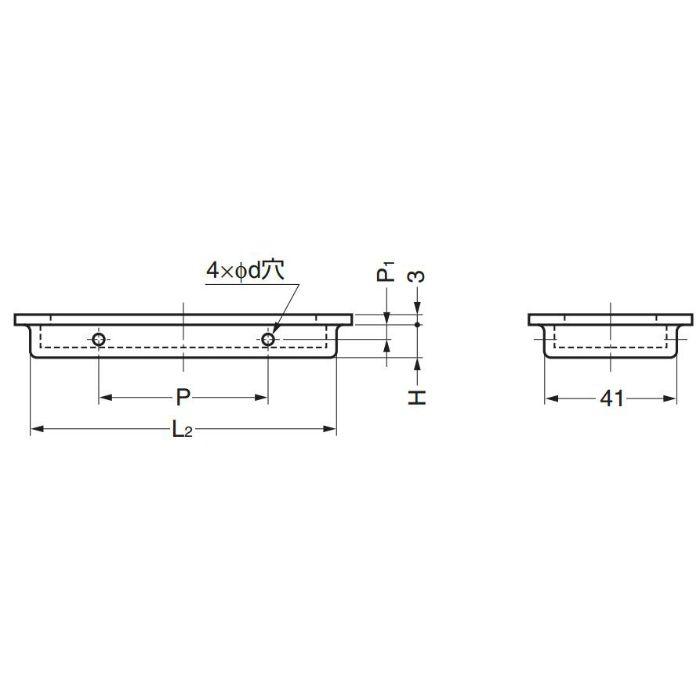 dLineステンレス鋼(SUS316)製戸引手14-3950型 14-3950-02-164 100-012-709