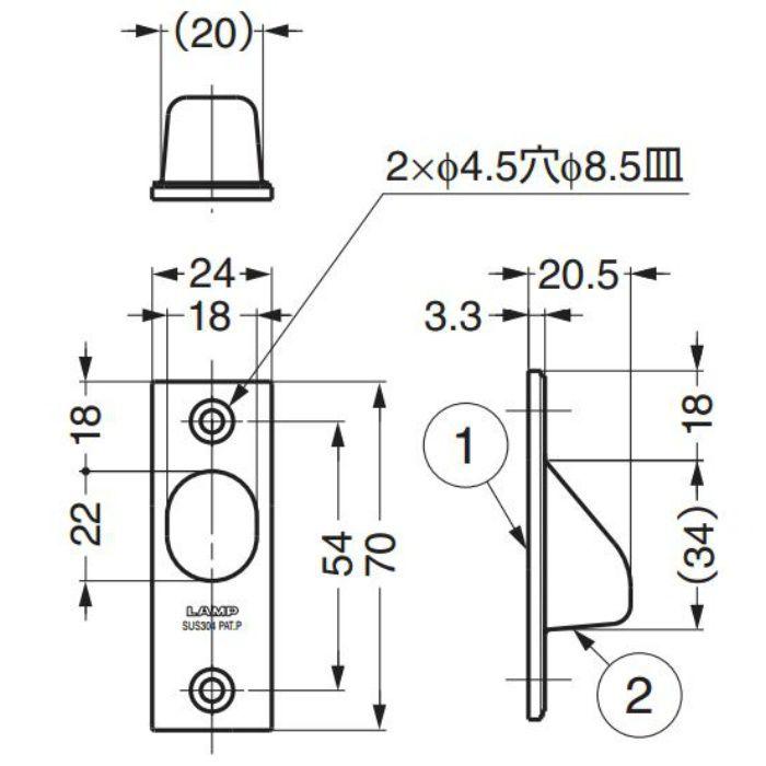 ランプ印ステンレス鋼製引戸木口埋込引手YK-70 YK-70 100-010-390