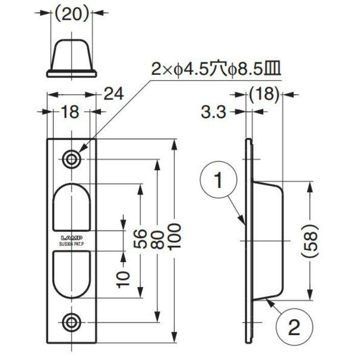 ランプ印ステンレス鋼製引戸木口埋込引手YK-W100 YK-W100 100-010-391