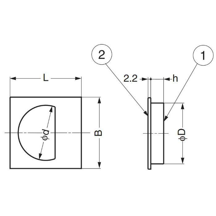 ランプ印ステンレス鋼製角戸引手SKH型 SKH-57 100-010-178