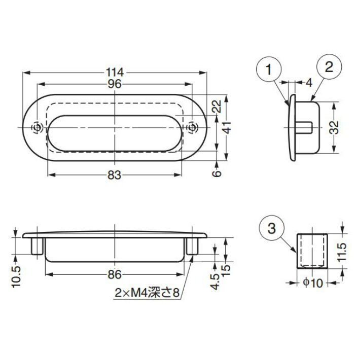ランプ印ステンレス鋼(SUS316相当品)製埋込取手HH-DS型 HH-DS114S 100-010-586