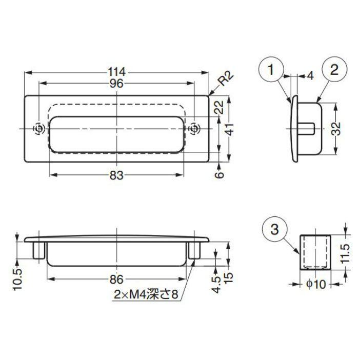 ランプ印ステンレス鋼(SUS316相当品)製埋込取手HH-KS型 HH-KS114M 100-010-583