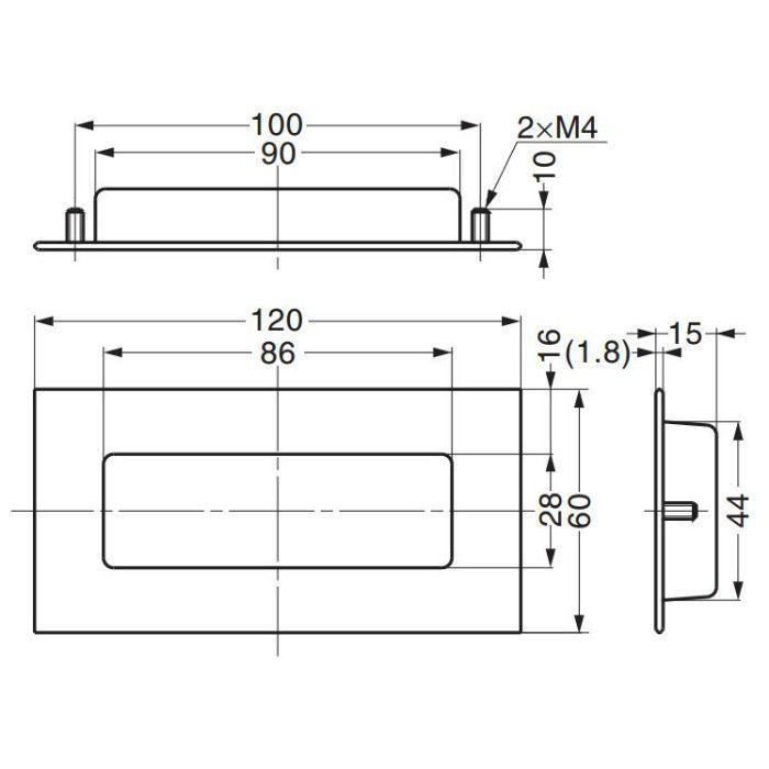 ステンレス鋼製掘込取手HH-AS2 HH-AS2 100-019-030