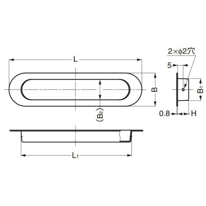 ランプ印ステンレス鋼製戸引手HN型 HN-150SH 100-012-954