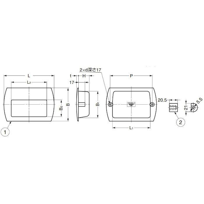 ランプ印掘込取手HH-P型 HH-P118 100-021-824