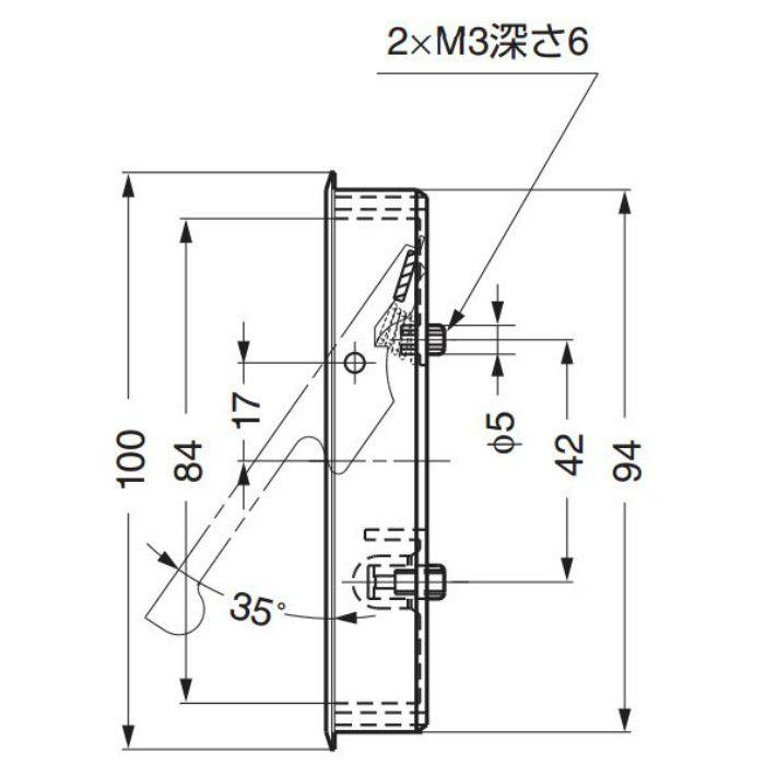 ランプ印堀込レバーハンドルFH-100BK FH-100BK-00 100-010-252