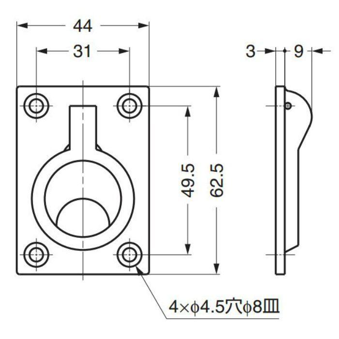 ステンレス鋼(SUS316相当品)製埋込ハンドル26901 26901