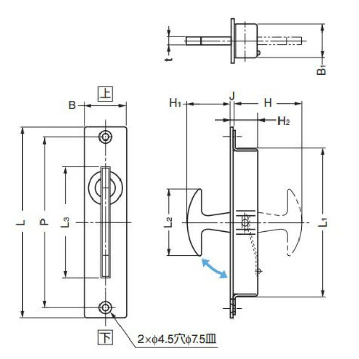 ランプ印ステンレス鋼製全回転引手ST-115 ST-115 100-010-241