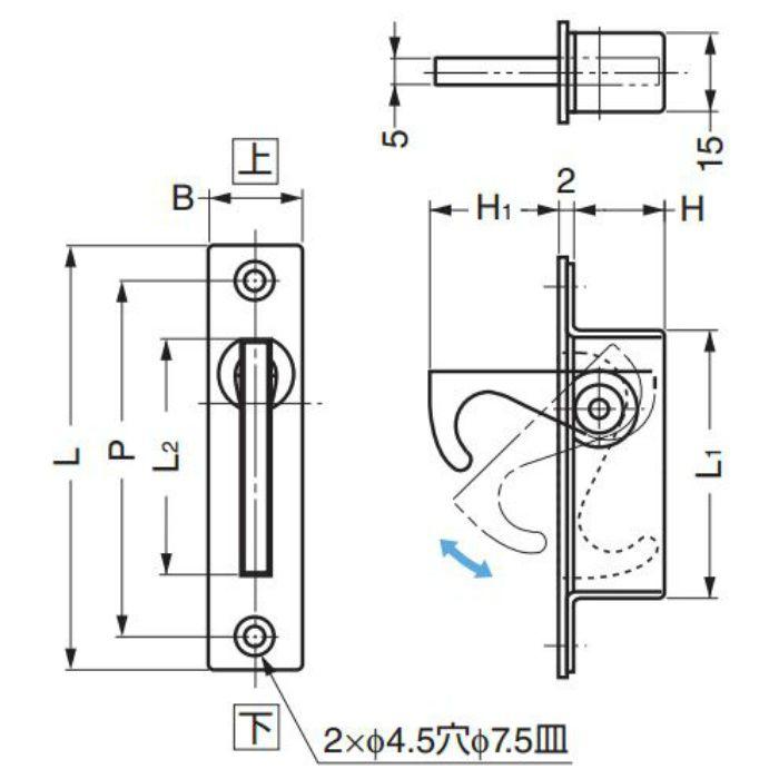ランプ印ステンレス鋼製半回転引手ST-100 ST-100 100-010-245