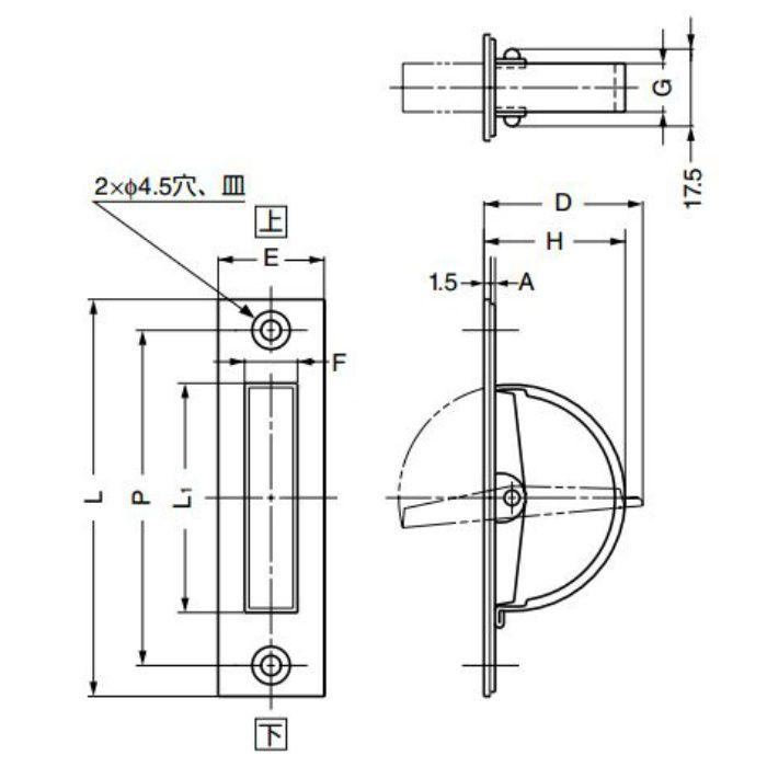 ランプ印ステンレス鋼製回転取手HR型 HR-135S 100-012-817